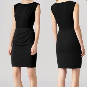 Reiss Colorado black sheath mixed media dress